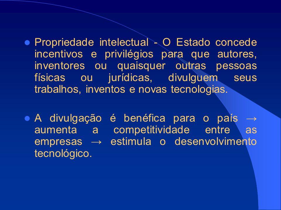 Propriedade intelectual - O Estado concede incentivos e privilégios para que autores, inventores ou quaisquer outras pessoas físicas ou jurídicas, divulguem seus trabalhos, inventos e novas tecnologias.