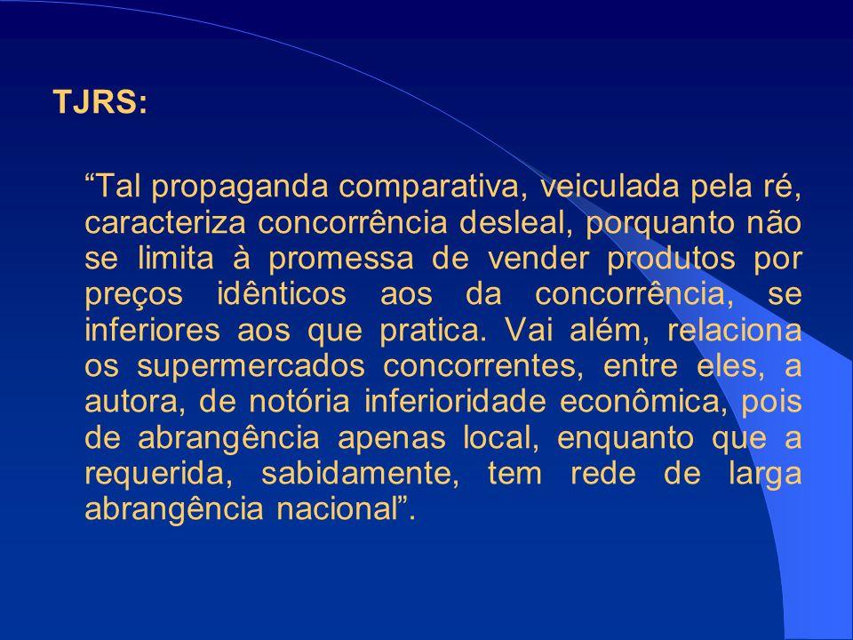 TJRS: Tal propaganda comparativa, veiculada pela ré, caracteriza concorrência desleal, porquanto não se limita à promessa de vender produtos por preços idênticos aos da concorrência, se inferiores aos que pratica.