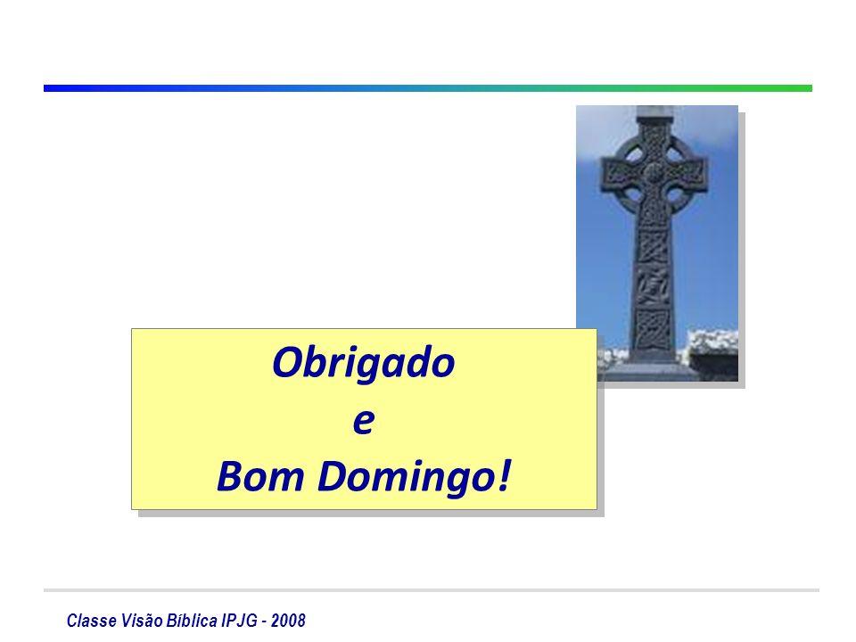 Classe Visão Bíblica IPJG - 2008 Obrigado e Bom Domingo! Obrigado e Bom Domingo!