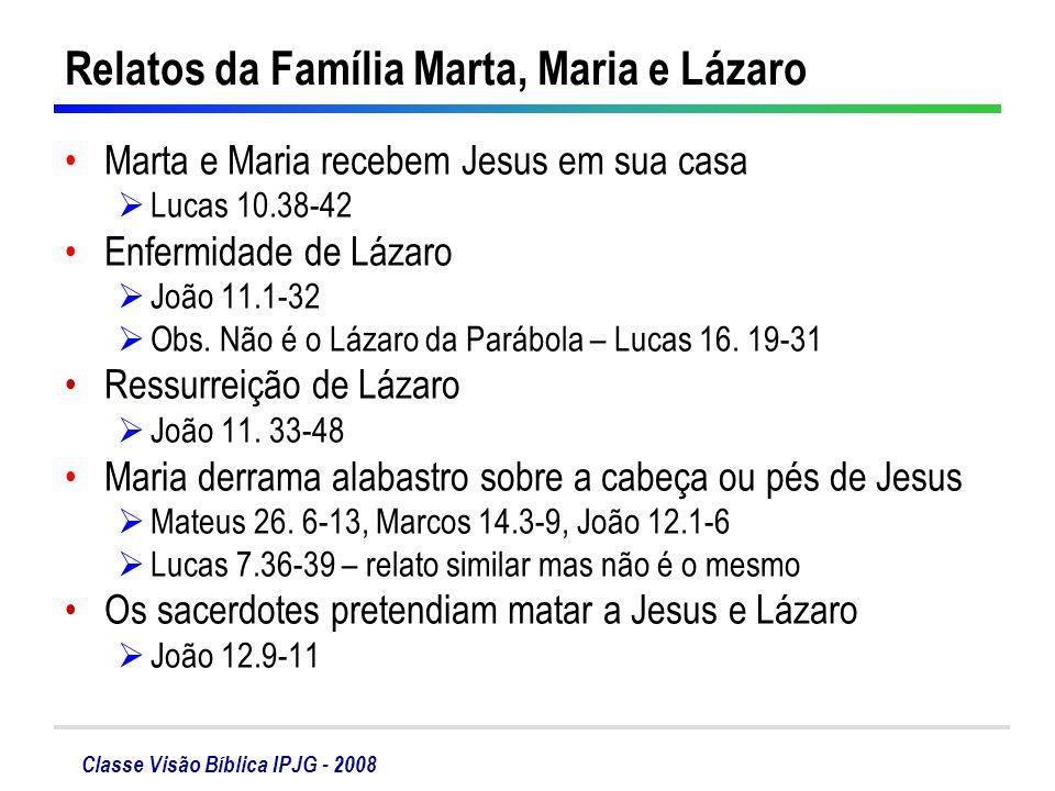 Classe Visão Bíblica IPJG - 2008 Relatos da Família Marta, Maria e Lázaro Marta e Maria recebem Jesus em sua casa Lucas 10.38-42 Enfermidade de Lázaro