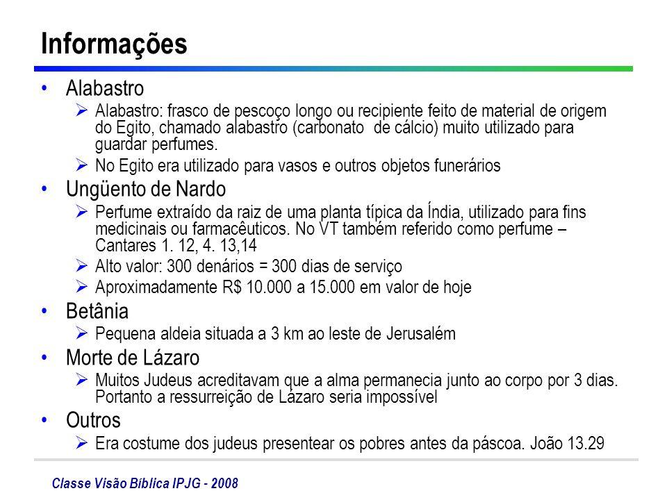 Classe Visão Bíblica IPJG - 2008 Informações Alabastro Alabastro: frasco de pescoço longo ou recipiente feito de material de origem do Egito, chamado