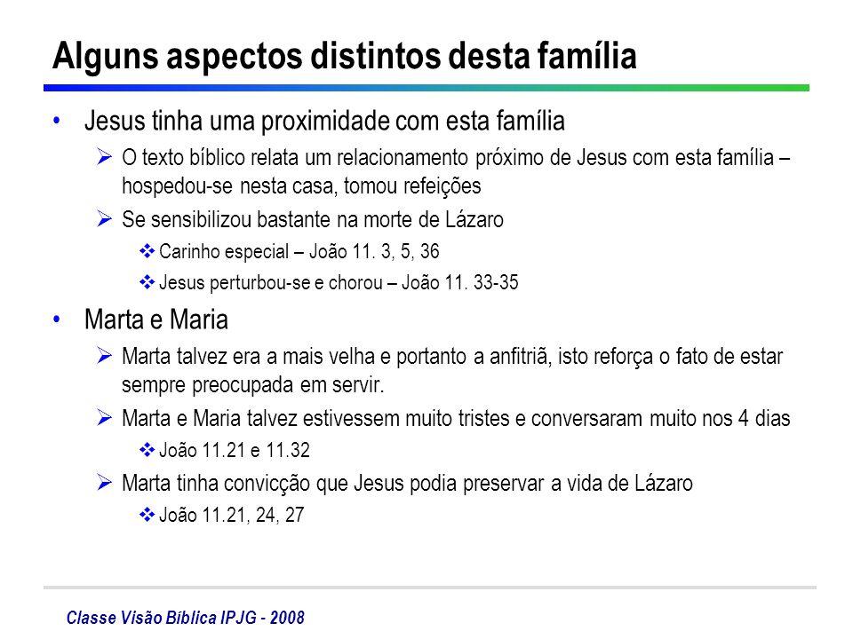 Classe Visão Bíblica IPJG - 2008 Alguns aspectos distintos desta família Jesus tinha uma proximidade com esta família O texto bíblico relata um relaci
