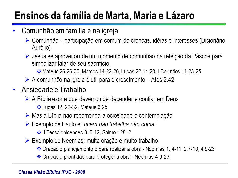 Classe Visão Bíblica IPJG - 2008 Ensinos da família de Marta, Maria e Lázaro Comunhão em família e na igreja Comunhão – participação em comum de crenç