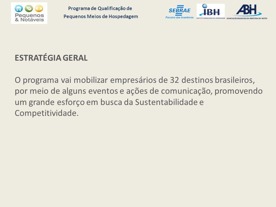 Programa de Qualificação de Pequenos Meios de Hospedagem ESTRATÉGIA GERAL O programa vai mobilizar empresários de 32 destinos brasileiros, por meio de alguns eventos e ações de comunicação, promovendo um grande esforço em busca da Sustentabilidade e Competitividade.