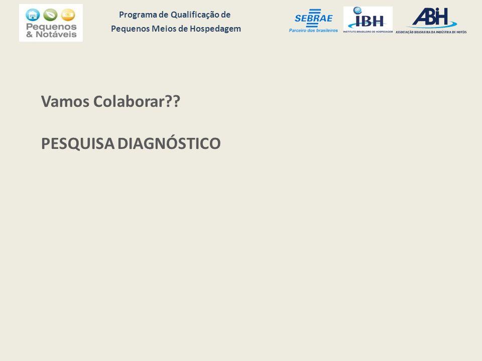Programa de Qualificação de Pequenos Meios de Hospedagem Vamos Colaborar PESQUISA DIAGNÓSTICO