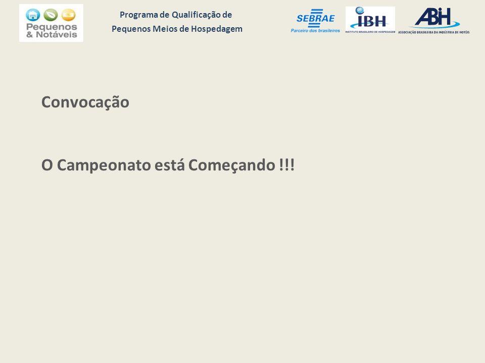 Programa de Qualificação de Pequenos Meios de Hospedagem Convocação O Campeonato está Começando !!!