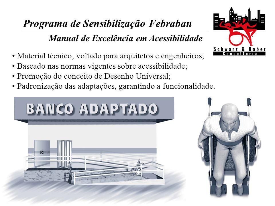 Programa de Sensibilização Febraban Manual de Excelência em Acessibilidade Material técnico, voltado para arquitetos e engenheiros; Baseado nas normas