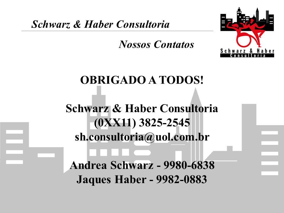 Schwarz & Haber Consultoria Nossos Contatos OBRIGADO A TODOS! Schwarz & Haber Consultoria (0XX11) 3825-2545 sh.consultoria@uol.com.br Andrea Schwarz -