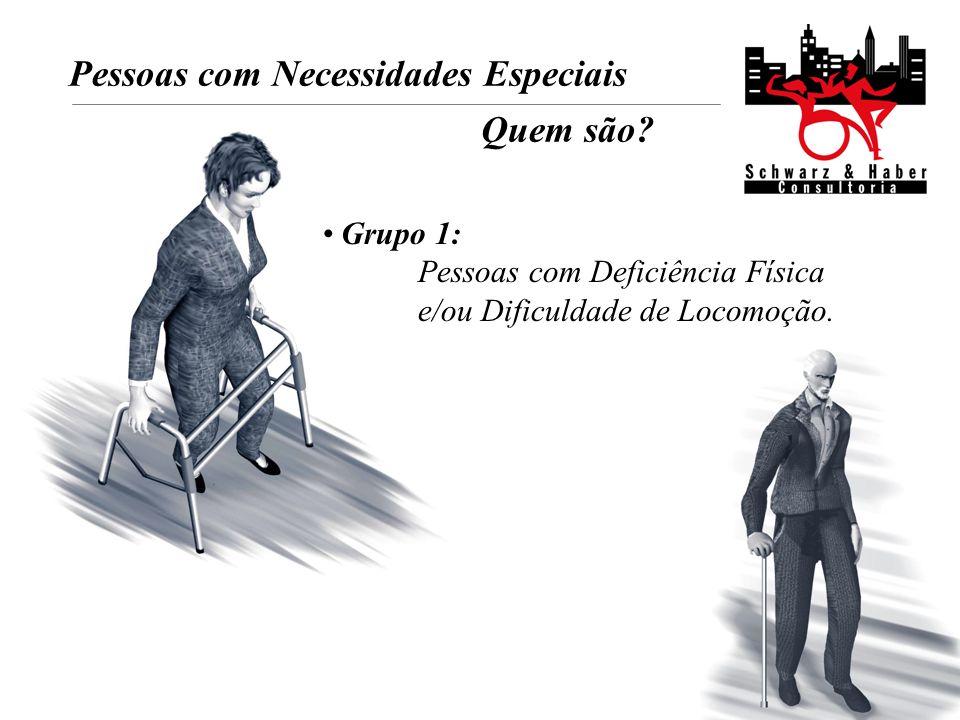 Pessoas com Necessidades Especiais Quem são? Grupo 1: Pessoas com Deficiência Física e/ou Dificuldade de Locomoção.