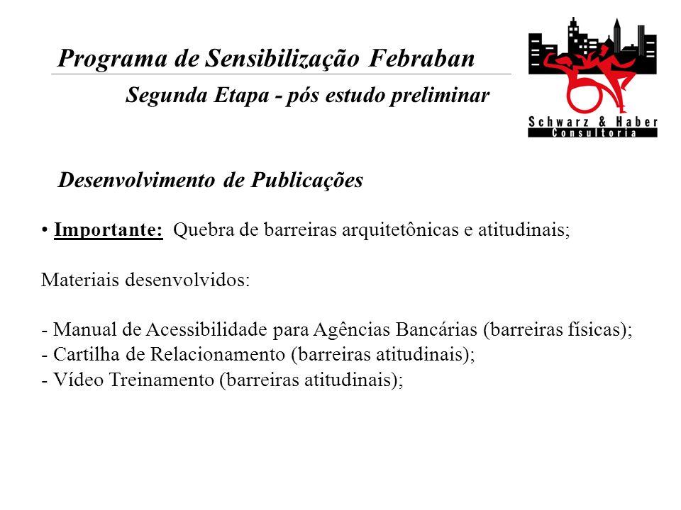Programa de Sensibilização Febraban Segunda Etapa - pós estudo preliminar Importante: Quebra de barreiras arquitetônicas e atitudinais; Materiais dese