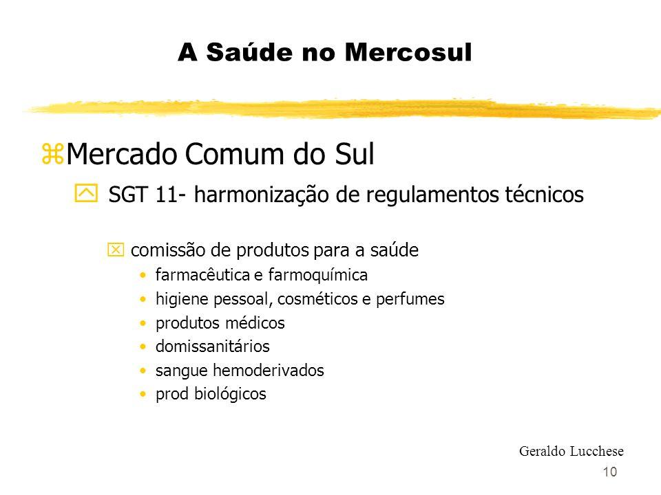 10 A Saúde no Mercosul zMercado Comum do Sul y SGT 11- harmonização de regulamentos técnicos x comissão de produtos para a saúde farmacêutica e farmoq