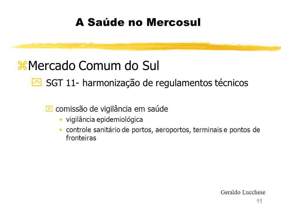 11 A Saúde no Mercosul zMercado Comum do Sul y SGT 11- harmonização de regulamentos técnicos x comissão de vigilância em saúde vigilância epidemiológi