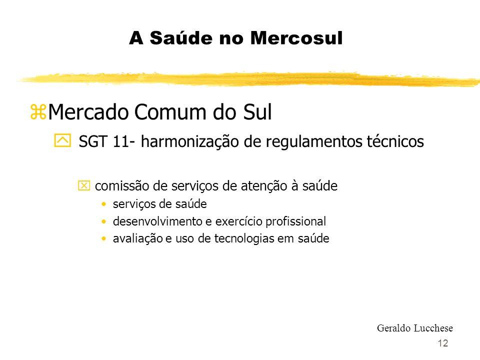 12 A Saúde no Mercosul zMercado Comum do Sul y SGT 11- harmonização de regulamentos técnicos x comissão de serviços de atenção à saúde serviços de saú