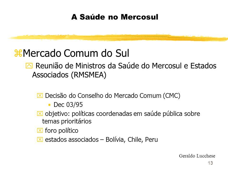 13 A Saúde no Mercosul zMercado Comum do Sul y Reunião de Ministros da Saúde do Mercosul e Estados Associados (RMSMEA) x Decisão do Conselho do Mercad