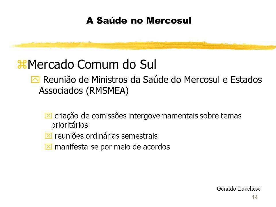 14 A Saúde no Mercosul zMercado Comum do Sul y Reunião de Ministros da Saúde do Mercosul e Estados Associados (RMSMEA) x criação de comissões intergov