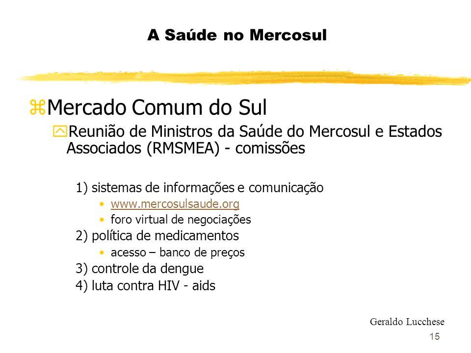15 A Saúde no Mercosul zMercado Comum do Sul yReunião de Ministros da Saúde do Mercosul e Estados Associados (RMSMEA) - comissões 1) sistemas de infor