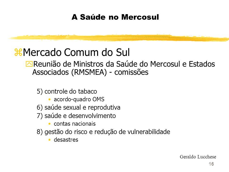 16 A Saúde no Mercosul zMercado Comum do Sul yReunião de Ministros da Saúde do Mercosul e Estados Associados (RMSMEA) - comissões 5) controle do tabac