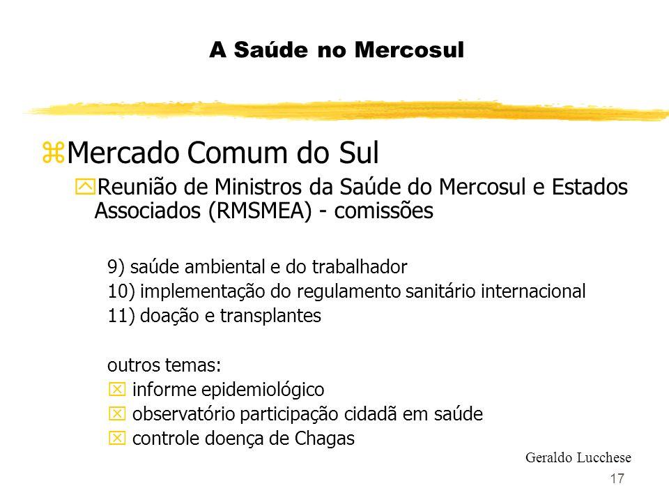 17 A Saúde no Mercosul zMercado Comum do Sul yReunião de Ministros da Saúde do Mercosul e Estados Associados (RMSMEA) - comissões 9) saúde ambiental e