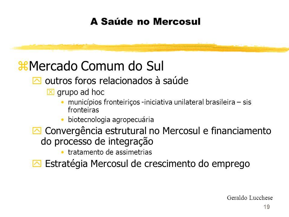 19 A Saúde no Mercosul zMercado Comum do Sul y outros foros relacionados à saúde x grupo ad hoc municípios fronteiriços -iniciativa unilateral brasile