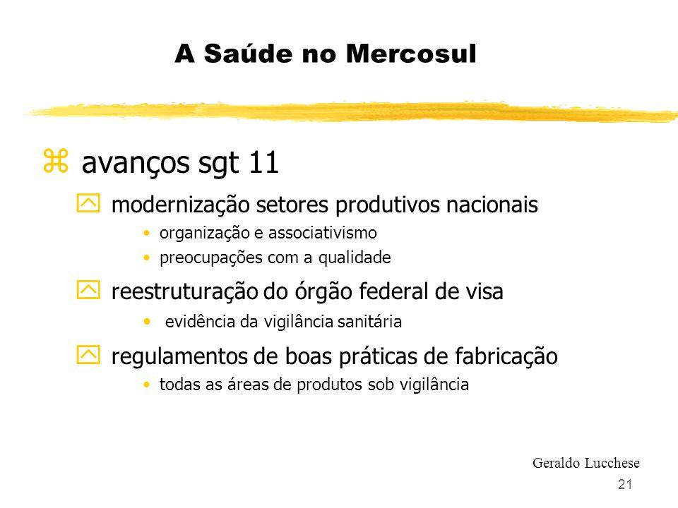 21 A Saúde no Mercosul z avanços sgt 11 y modernização setores produtivos nacionais organização e associativismo preocupações com a qualidade y reestr