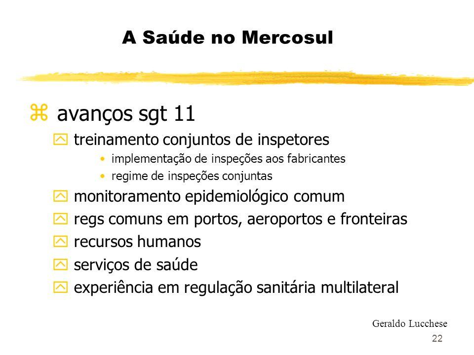 22 A Saúde no Mercosul z avanços sgt 11 y treinamento conjuntos de inspetores implementação de inspeções aos fabricantes regime de inspeções conjuntas