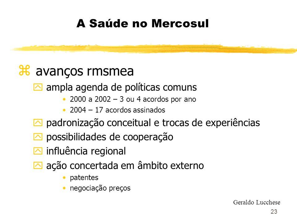 23 A Saúde no Mercosul z avanços rmsmea y ampla agenda de políticas comuns 2000 a 2002 – 3 ou 4 acordos por ano 2004 – 17 acordos assinados y padroniz