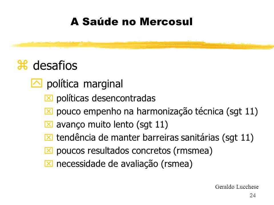24 A Saúde no Mercosul z desafios y política marginal x políticas desencontradas x pouco empenho na harmonização técnica (sgt 11) x avanço muito lento