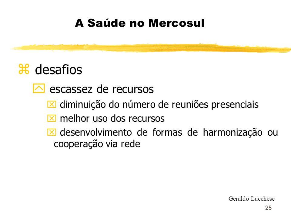 25 A Saúde no Mercosul z desafios y escassez de recursos x diminuição do número de reuniões presenciais x melhor uso dos recursos x desenvolvimento de