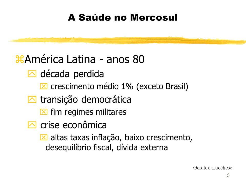 4 A Saúde no Mercosul z esgotamento do desenvolvimentismo z reformas liberalizantes z abertura econômica y redução barreiras tarifárias x entre 1988 e 1998: tarifas reduziram-se de 33% a 13%, em média z implementação acordos de comércio Geraldo Lucchese