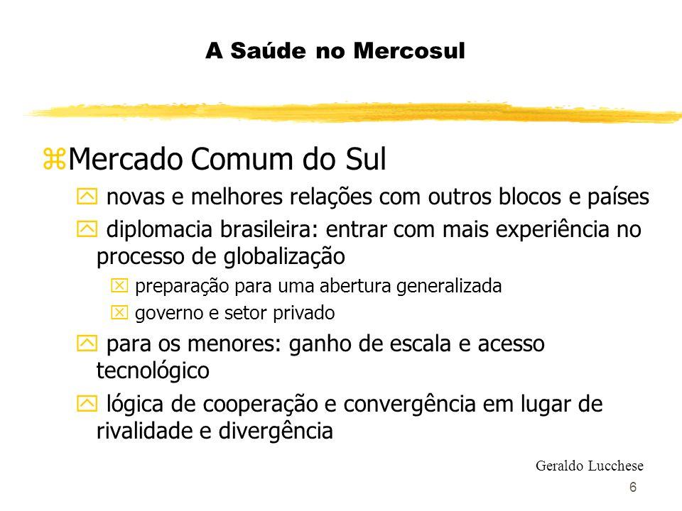 6 A Saúde no Mercosul zMercado Comum do Sul y novas e melhores relações com outros blocos e países y diplomacia brasileira: entrar com mais experiênci