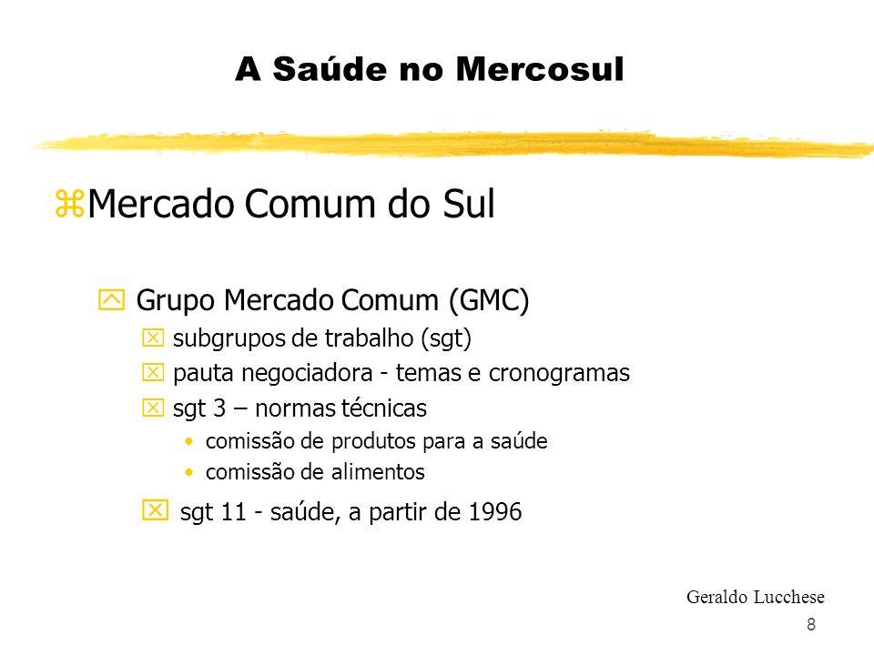 9 A Saúde no Mercosul zMercado Comum do Sul y SGT 11- harmonização de regulamentos técnicos x comissão de produtos para a saúde x comissão de vigilância em saúde x comissão de serviços de atenção à saúde Geraldo Lucchese