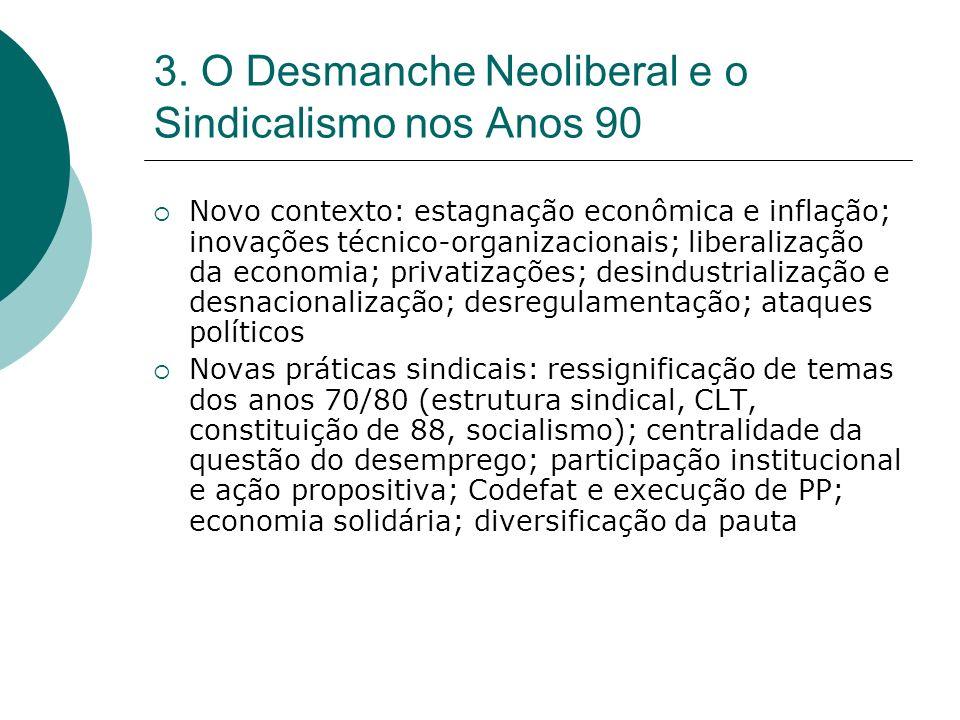 3. O Desmanche Neoliberal e o Sindicalismo nos Anos 90 Novo contexto: estagnação econômica e inflação; inovações técnico-organizacionais; liberalizaçã