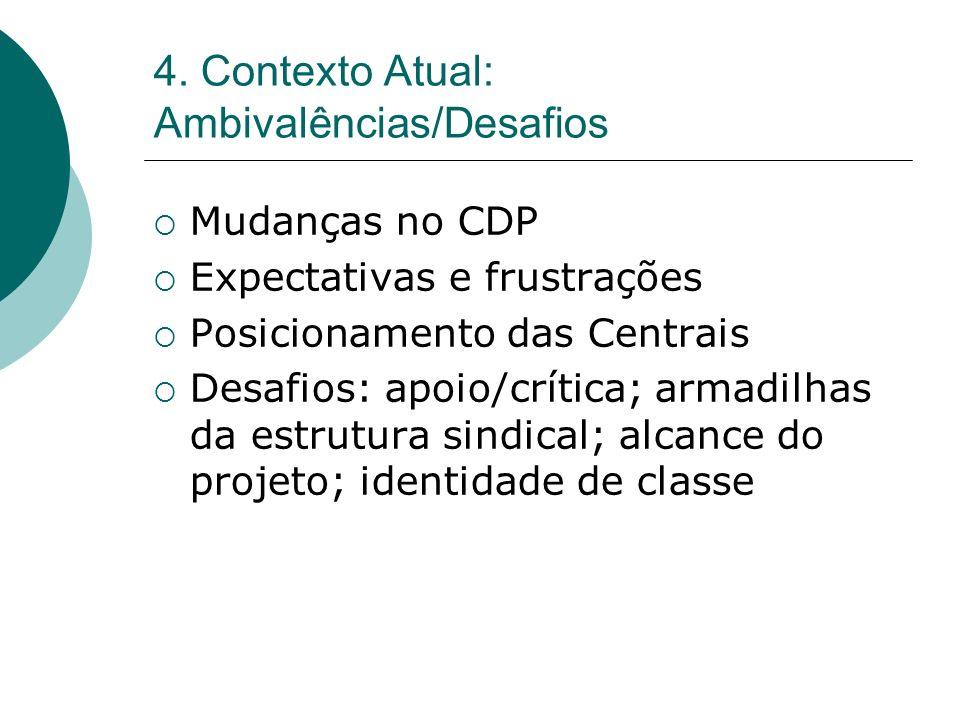 4. Contexto Atual: Ambivalências/Desafios Mudanças no CDP Expectativas e frustrações Posicionamento das Centrais Desafios: apoio/crítica; armadilhas d