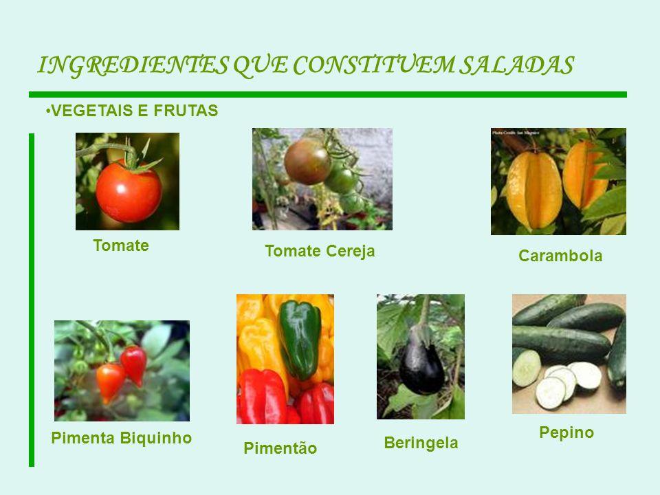 VEGETAIS E FRUTAS Tomate Tomate Cereja Beringela Pimentão Pimenta Biquinho Carambola Pepino INGREDIENTES QUE CONSTITUEM SALADAS