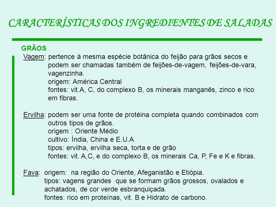 CARACTERÍSTICAS DOS INGREDIENTES DE SALADAS GRÃOS Vagem: pertence à mesma espécie botânica do feijão para grãos secos e podem ser chamadas também de f