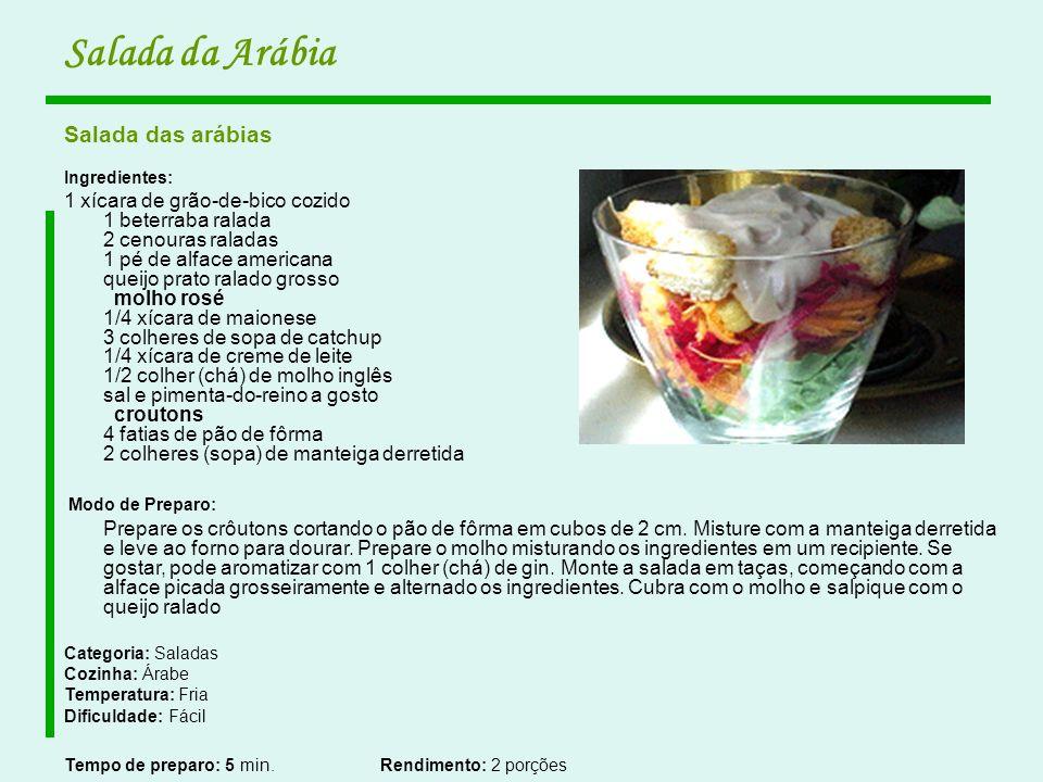 Salada da Arábia Salada das arábias Ingredientes: 1 xícara de grão-de-bico cozido 1 beterraba ralada 2 cenouras raladas 1 pé de alface americana queij