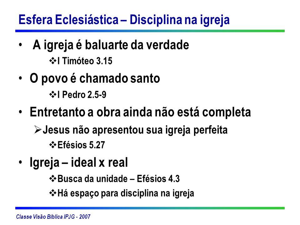 Classe Visão Bíblica IPJG - 2007 Esfera Eclesiástica – Disciplina na igreja A igreja é baluarte da verdade I Timóteo 3.15 O povo é chamado santo I Ped