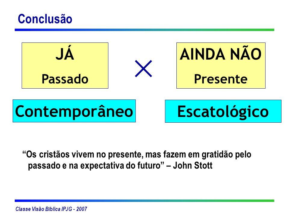 Classe Visão Bíblica IPJG - 2007 Conclusão JÁ Passado AINDA NÃO Presente Escatológico Contemporâneo Os cristãos vivem no presente, mas fazem em gratid
