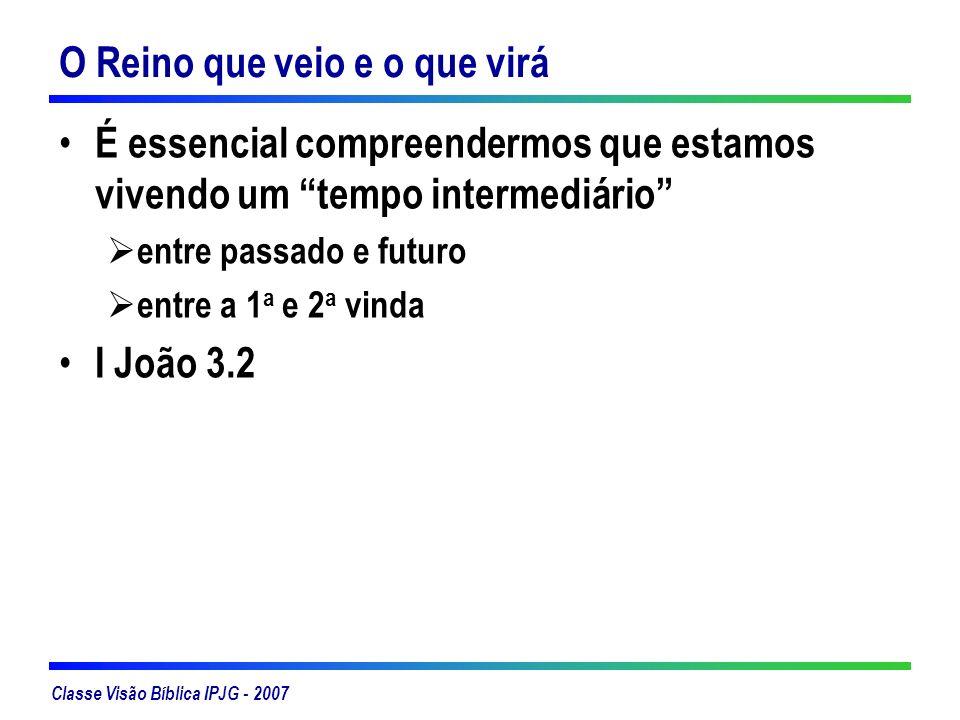 Classe Visão Bíblica IPJG - 2007 A tensão entre o presente e futuro na vida do Cristão é descrita de várias maneiras: Tendo esperança – Romanos 8.24 Aguardando – Filipenses 3.20, 21, I Tessalonicenses 1.9-10 Aguardando com ardente expectativa – Romanos 8.19 Gemendo – Romanos 8.22-23, 26 Paciência – Romanos 8.25