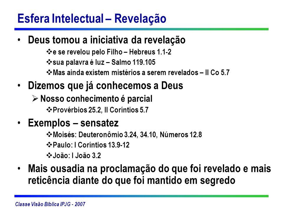 Classe Visão Bíblica IPJG - 2007 Esfera Intelectual – Revelação Deus tomou a iniciativa da revelação e se revelou pelo Filho – Hebreus 1.1-2 sua palav