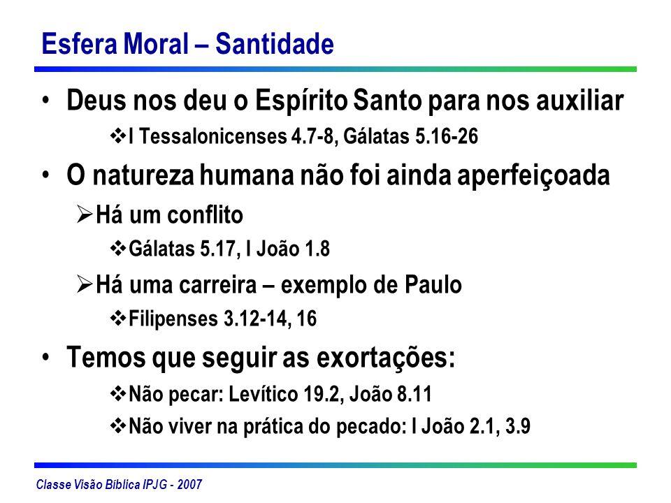 Classe Visão Bíblica IPJG - 2007 Esfera Moral – Santidade Deus nos deu o Espírito Santo para nos auxiliar I Tessalonicenses 4.7-8, Gálatas 5.16-26 O n