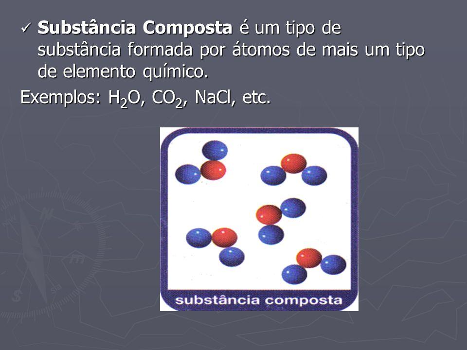 Substância Composta é um tipo de substância formada por átomos de mais um tipo de elemento químico. Substância Composta é um tipo de substância formad