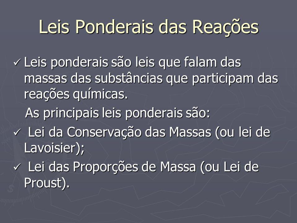 Leis Ponderais das Reações Leis ponderais são leis que falam das massas das substâncias que participam das reações químicas. Leis ponderais são leis q