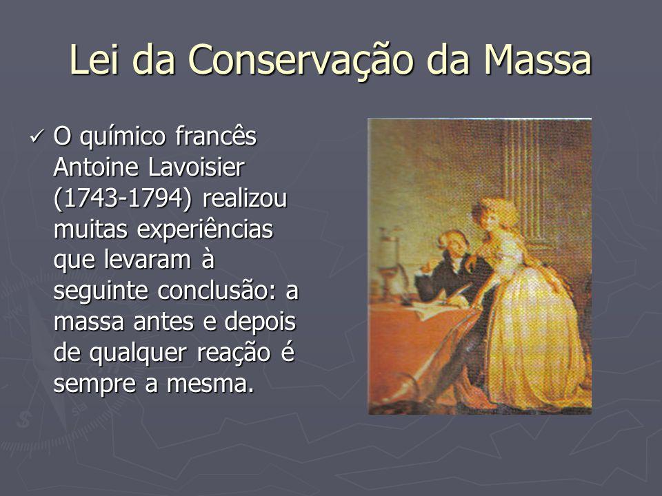 Lei da Conservação da Massa O químico francês Antoine Lavoisier (1743-1794) realizou muitas experiências que levaram à seguinte conclusão: a massa ant