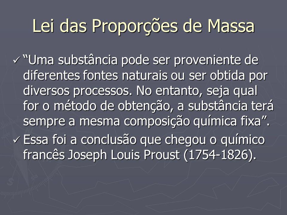 Lei das Proporções de Massa Uma substância pode ser proveniente de diferentes fontes naturais ou ser obtida por diversos processos. No entanto, seja q
