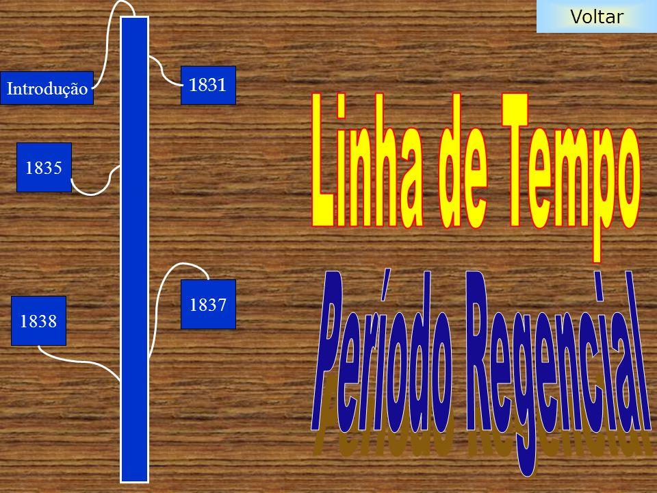 Voltar Os primeiros anos do período das regências foram marcados pela insegurança e incerteza do modo pelo qual os brasileiros iriam conduzir os destinos do Brasil.