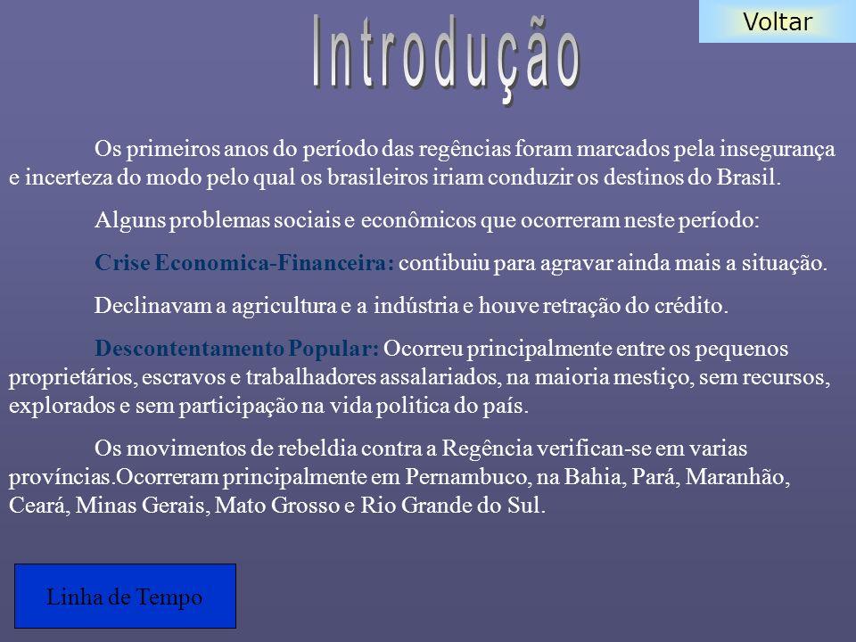 Voltar Os primeiros anos do período das regências foram marcados pela insegurança e incerteza do modo pelo qual os brasileiros iriam conduzir os desti