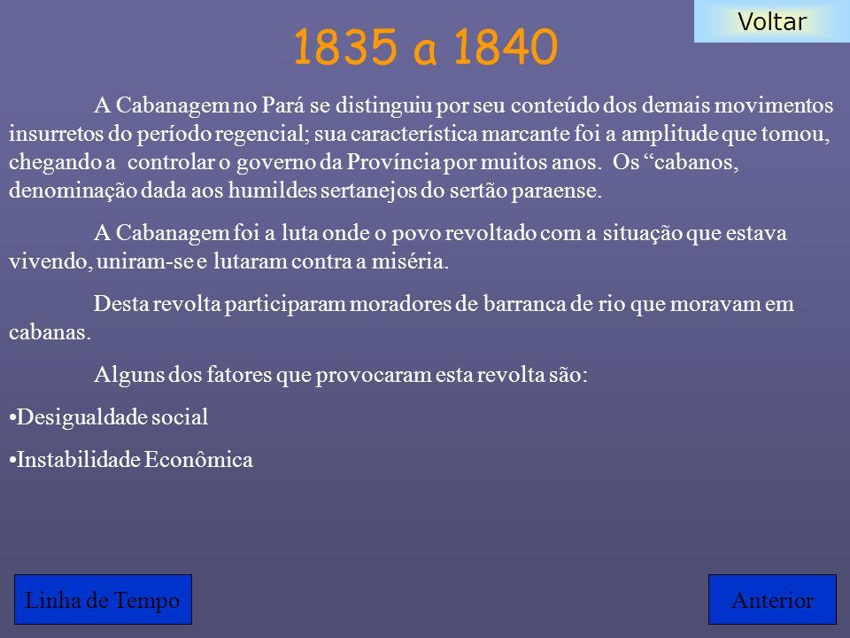 Voltar 1835 a 1840 A Cabanagem no Pará se distinguiu por seu conteúdo dos demais movimentos insurretos do período regencial; sua característica marcan