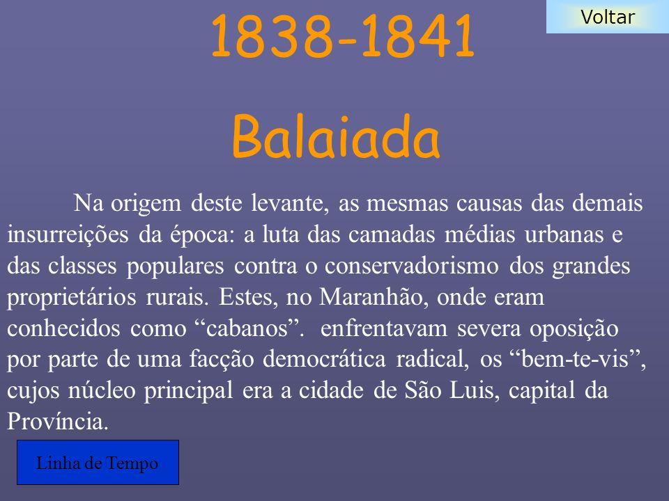 Voltar 1838-1841 Balaiada Na origem deste levante, as mesmas causas das demais insurreições da época: a luta das camadas médias urbanas e das classes