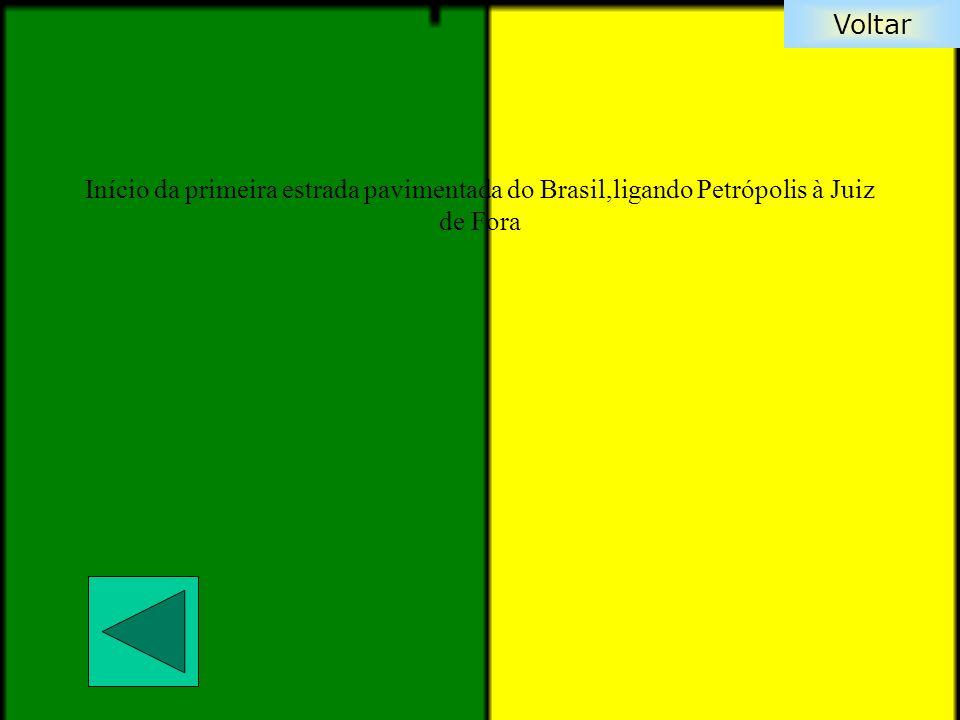 Voltar Início da primeira estrada pavimentada do Brasil,ligando Petrópolis à Juiz de Fora
